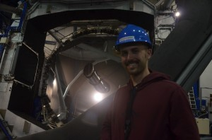 Jonathan in front of the 8.2 primary mirror on the VLT